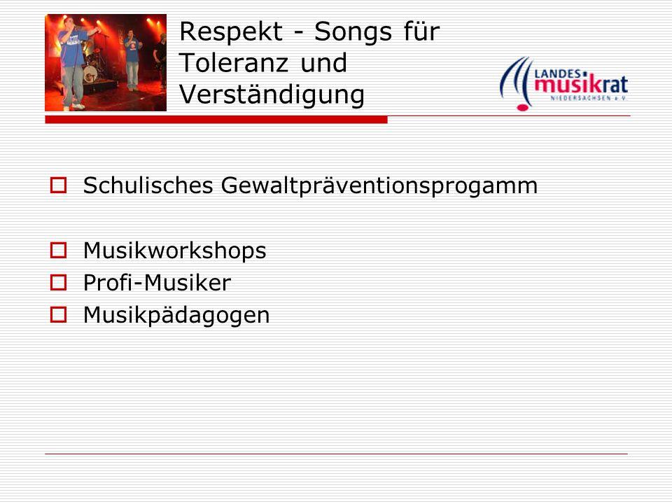 Respekt - Songs für Toleranz und Verständigung  Schulisches Gewaltpräventionsprogamm  Musikworkshops  Profi-Musiker  Musikpädagogen