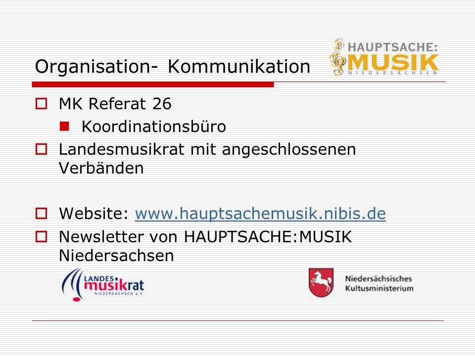 Organisation- Kommunikation  MK Referat 26 Koordinationsbüro  Landesmusikrat mit angeschlossenen Verbänden  Website: www.hauptsachemusik.nibis.deww