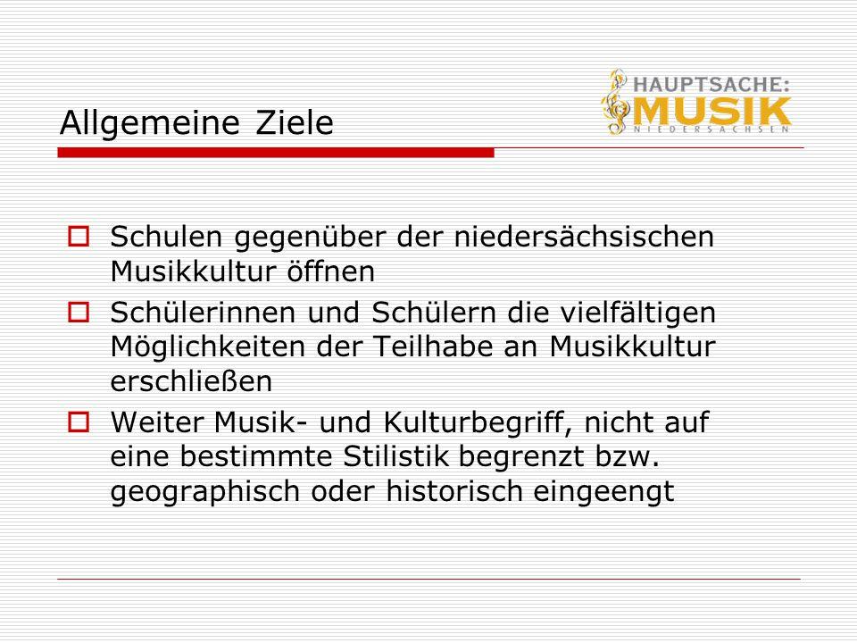 Allgemeine Ziele  Schulen gegenüber der niedersächsischen Musikkultur öffnen  Schülerinnen und Schülern die vielfältigen Möglichkeiten der Teilhabe