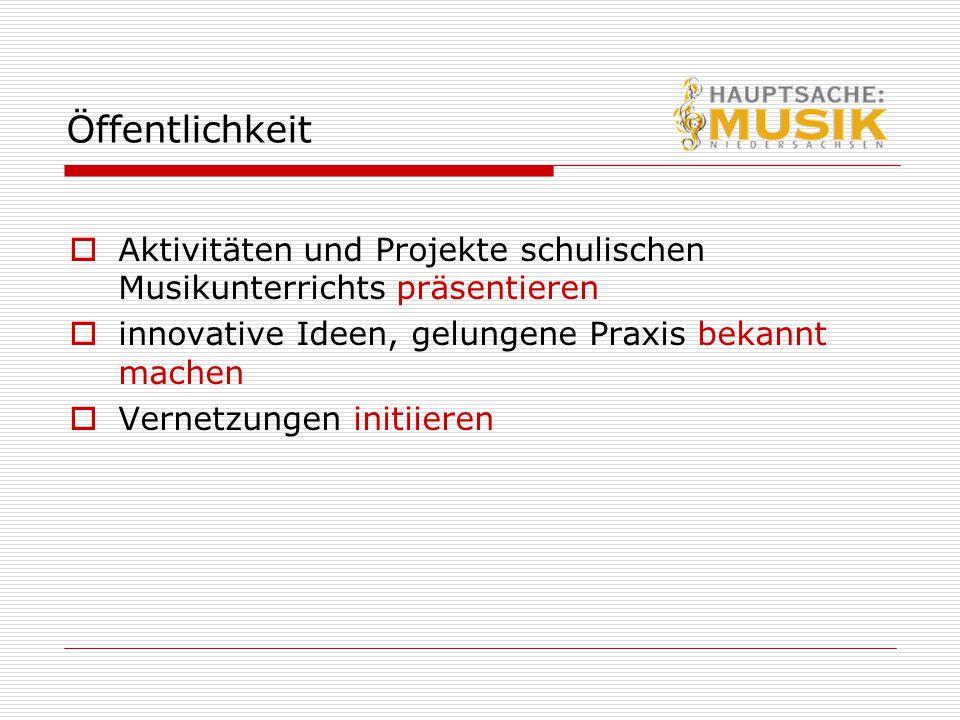 Öffentlichkeit  Aktivitäten und Projekte schulischen Musikunterrichts präsentieren  innovative Ideen, gelungene Praxis bekannt machen  Vernetzungen