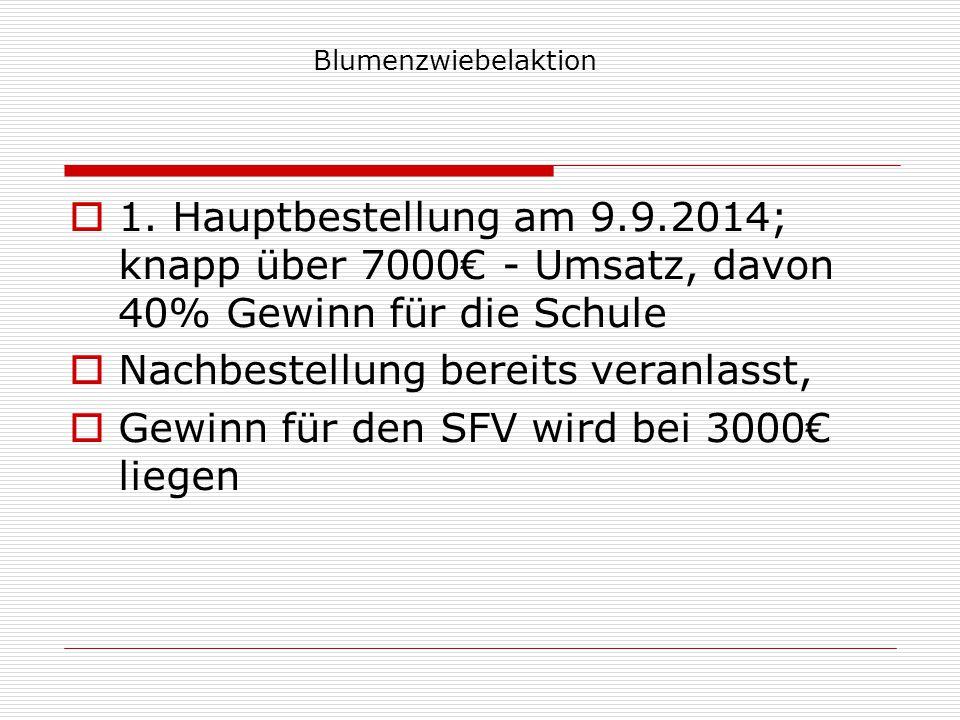 Blumenzwiebelaktion  1. Hauptbestellung am 9.9.2014; knapp über 7000€ - Umsatz, davon 40% Gewinn für die Schule  Nachbestellung bereits veranlasst,