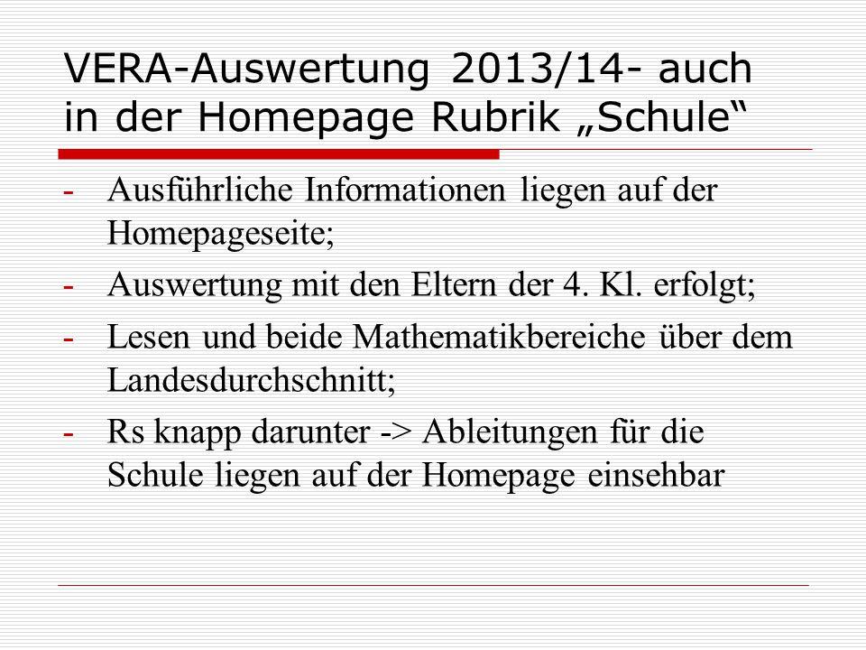 """VERA-Auswertung 2013/14- auch in der Homepage Rubrik """"Schule"""" -Ausführliche Informationen liegen auf der Homepageseite; -Auswertung mit den Eltern der"""