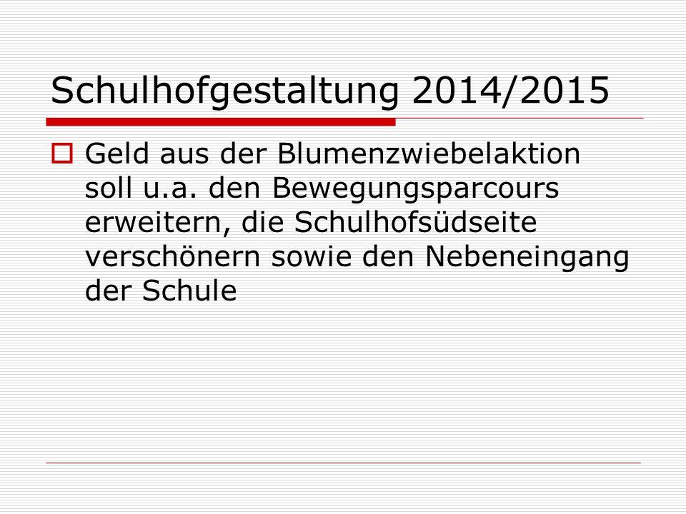 Schulhofgestaltung 2014/2015  Geld aus der Blumenzwiebelaktion soll u.a. den Bewegungsparcours erweitern, die Schulhofsüdseite verschönern sowie den