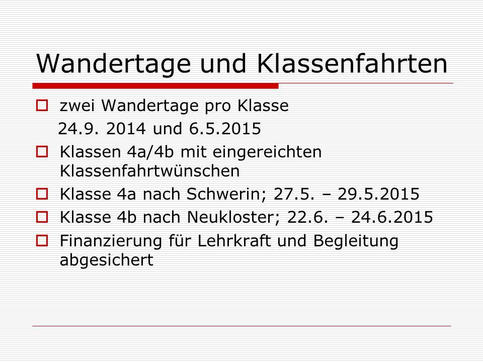 Wandertage und Klassenfahrten  zwei Wandertage pro Klasse 24.9. 2014 und 6.5.2015  Klassen 4a/4b mit eingereichten Klassenfahrtwünschen  Klasse 4a