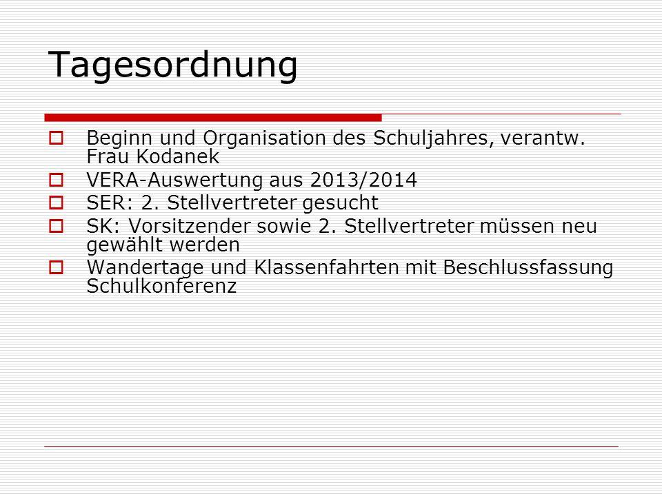 Tagesordnung  Beginn und Organisation des Schuljahres, verantw. Frau Kodanek  VERA-Auswertung aus 2013/2014  SER: 2. Stellvertreter gesucht  SK: V