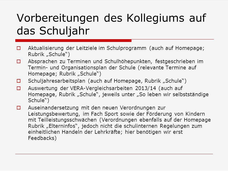 """Vorbereitungen des Kollegiums auf das Schuljahr  Aktualisierung der Leitziele im Schulprogramm (auch auf Homepage; Rubrik """"Schule"""")  Absprachen zu T"""