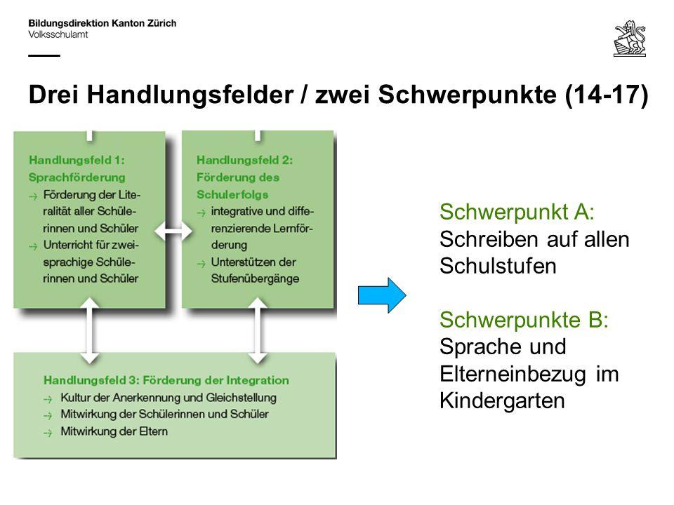 Drei Handlungsfelder / zwei Schwerpunkte (14-17) Schwerpunkt A: Schreiben auf allen Schulstufen Schwerpunkte B: Sprache und Elterneinbezug im Kinderga
