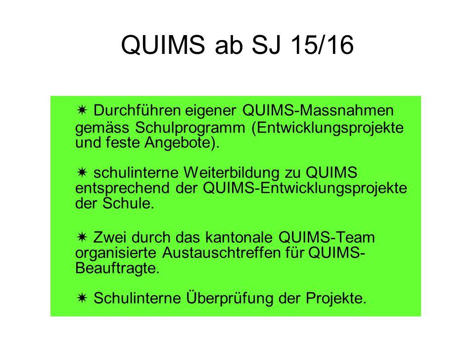 QUIMS ab SJ 15/16  Durchführen eigener QUIMS-Massnahmen gemäss Schulprogramm (Entwicklungsprojekte und feste Angebote).  schulinterne Weiterbildung