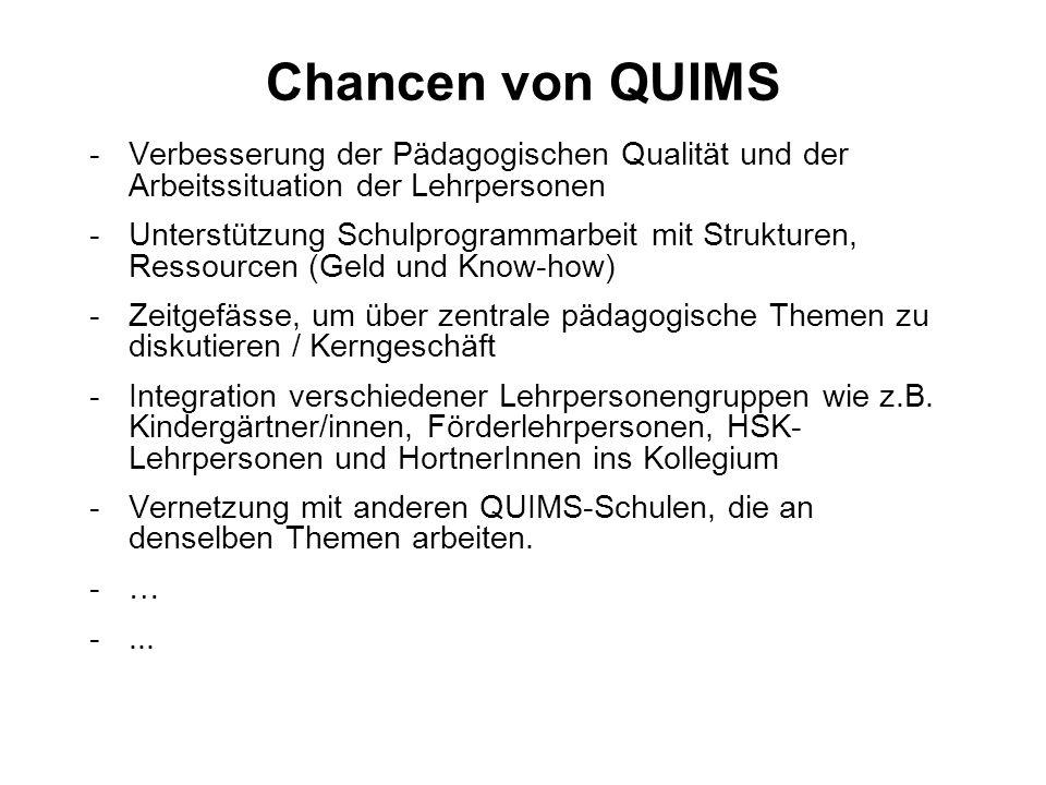 Chancen von QUIMS -Verbesserung der Pädagogischen Qualität und der Arbeitssituation der Lehrpersonen -Unterstützung Schulprogrammarbeit mit Strukturen