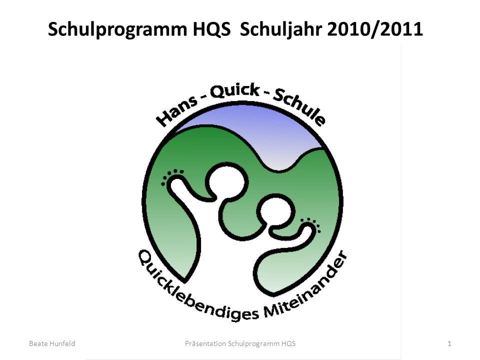 Schulprogramm HQSSchuljahr 2010/2011 1Präsentation Schulprogramm HQSBeate Hunfeld