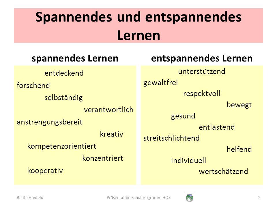 Lernumgebung Förderung Kooperation Spannendes und entspannendes Lernen 3Präsentation Schulprogramm HQSBeate Hunfeld