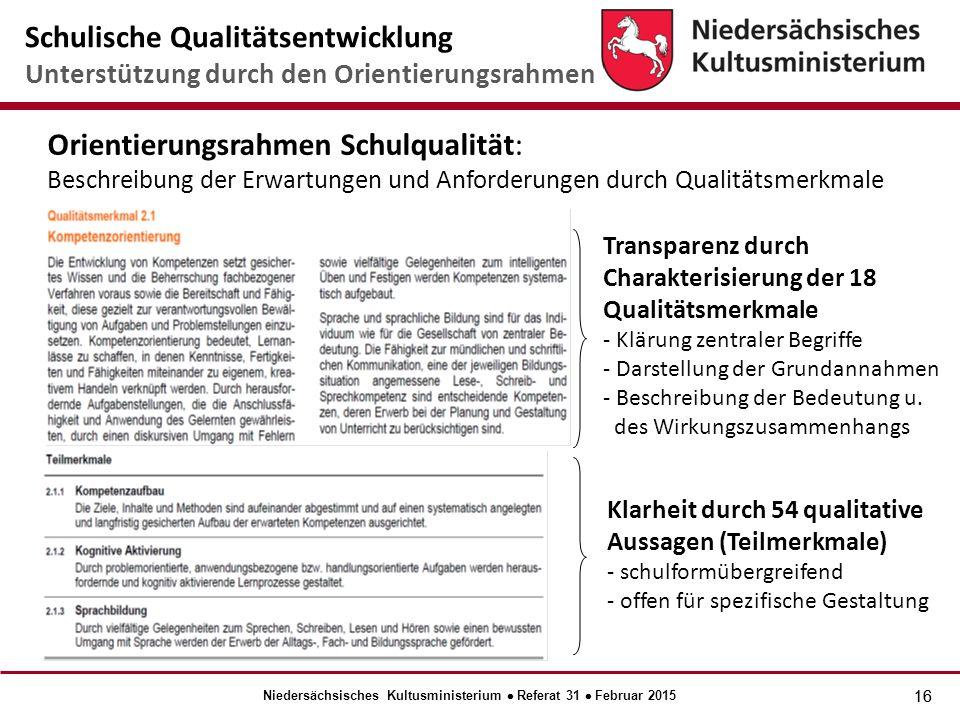 16 Transparenz durch Charakterisierung der 18 Qualitätsmerkmale - Klärung zentraler Begriffe - Darstellung der Grundannahmen - Beschreibung der Bedeutung u.