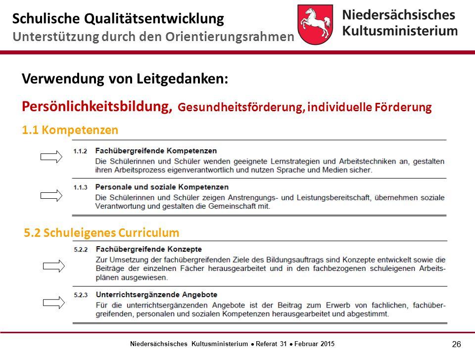 26 Verwendung von Leitgedanken: Persönlichkeitsbildung, Gesundheitsförderung, individuelle Förderung 1.1 Kompetenzen 5.2 Schuleigenes Curriculum Schulische Qualitätsentwicklung Unterstützung durch den Orientierungsrahmen Niedersächsisches Kultusministerium  Referat 31  Februar 2015