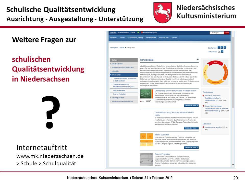 29 Internetauftritt www.mk.niedersachsen.de > Schule > Schulqualität Weitere Fragen zur schulischen Qualitätsentwicklung in Niedersachsen .