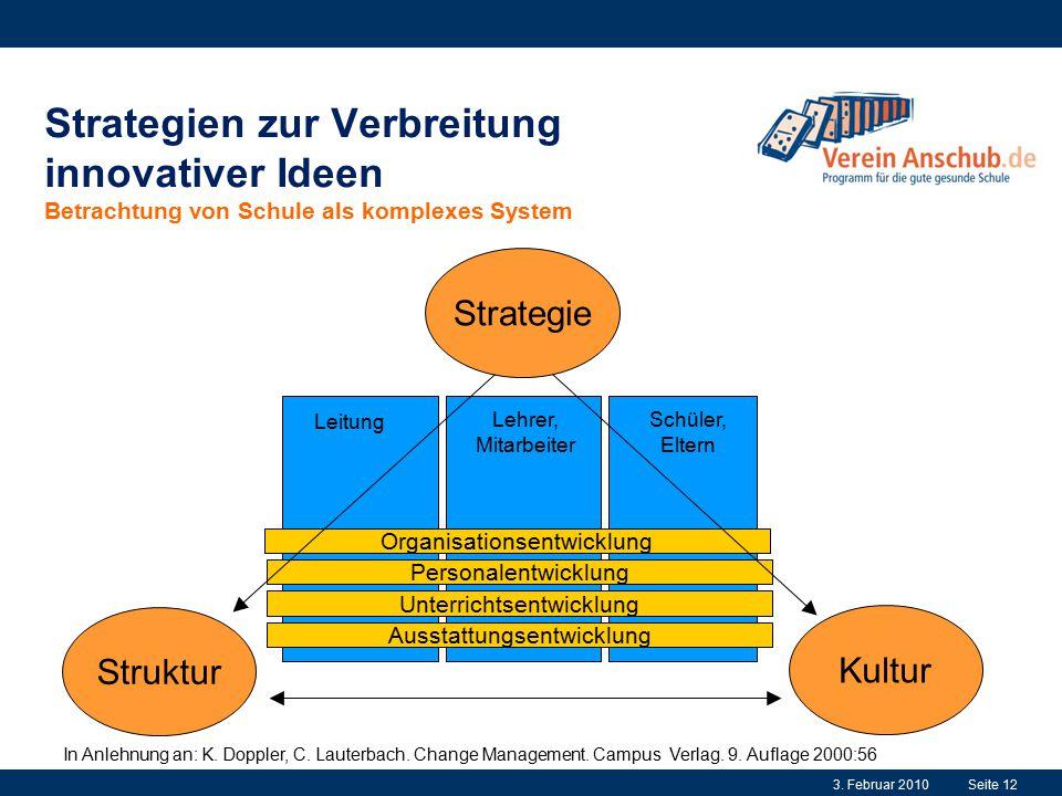 Strategien zur Verbreitung innovativer Ideen Betrachtung von Schule als komplexes System Kultur Unterrichtsentwicklung Ausstattungsentwicklung Organis