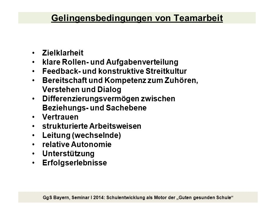 """GgS Bayern, Seminar I 2014: Schulentwicklung als Motor der """"Guten gesunden Schule"""" Gelingensbedingungen von Teamarbeit Zielklarheit klare Rollen- und"""