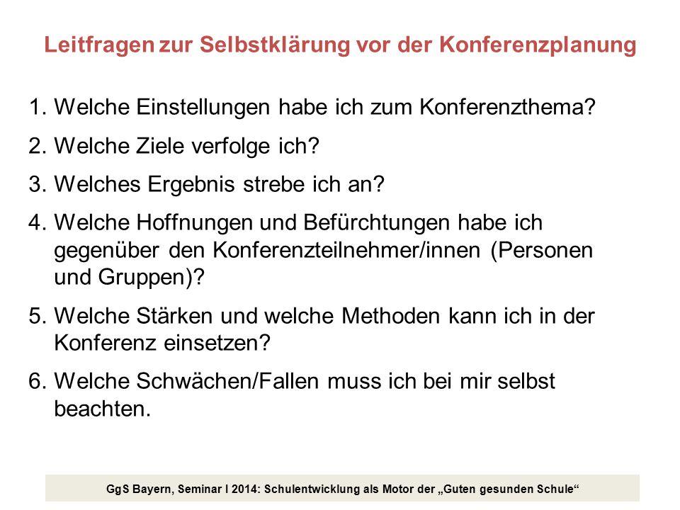 """GgS Bayern, Seminar I 2014: Schulentwicklung als Motor der """"Guten gesunden Schule"""" Leitfragen zur Selbstklärung vor der Konferenzplanung 1.Welche Eins"""