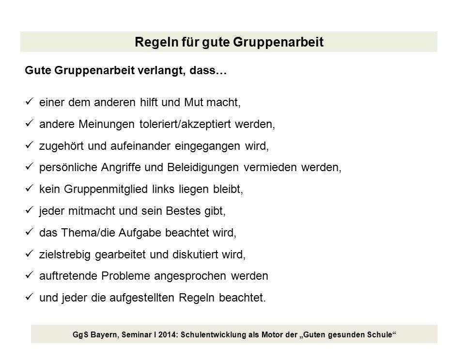 """GgS Bayern, Seminar I 2014: Schulentwicklung als Motor der """"Guten gesunden Schule"""" Regeln für gute Gruppenarbeit Gute Gruppenarbeit verlangt, dass… ei"""