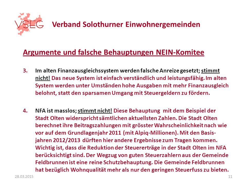Verband Solothurner Einwohnergemeinden Argumente und falsche Behauptungen NEIN-Komitee 3.Im alten Finanzausgleichssystem werden falsche Anreize gesetzt; stimmt nicht.
