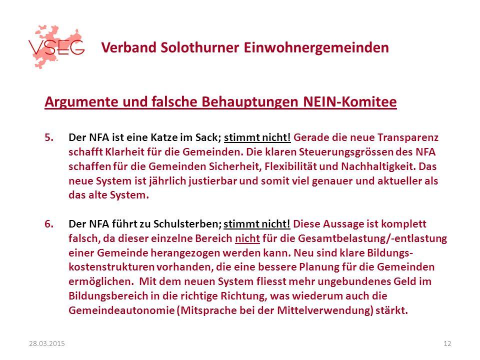 Verband Solothurner Einwohnergemeinden Argumente und falsche Behauptungen NEIN-Komitee 5.Der NFA ist eine Katze im Sack; stimmt nicht.