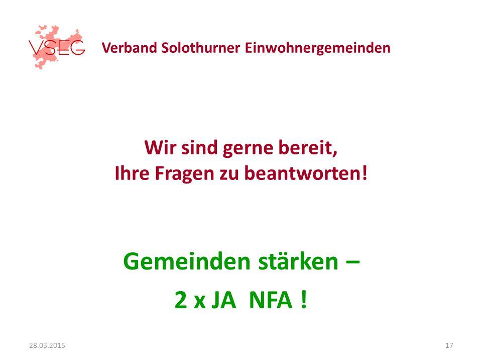 Verband Solothurner Einwohnergemeinden Wir sind gerne bereit, Ihre Fragen zu beantworten.