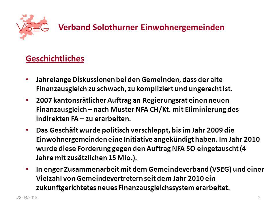 Verband Solothurner Einwohnergemeinden Geschichtliches Jahrelange Diskussionen bei den Gemeinden, dass der alte Finanzausgleich zu schwach, zu kompliziert und ungerecht ist.