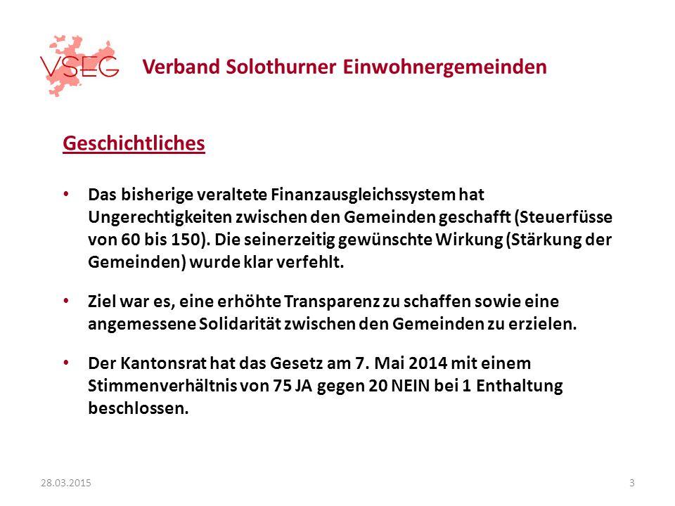 Verband Solothurner Einwohnergemeinden Geschichtliches Das bisherige veraltete Finanzausgleichssystem hat Ungerechtigkeiten zwischen den Gemeinden geschafft (Steuerfüsse von 60 bis 150).