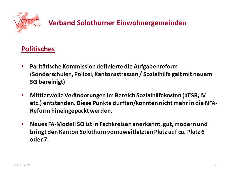 Verband Solothurner Einwohnergemeinden Politisches Paritätische Kommission definierte die Aufgabenreform (Sonderschulen, Polizei, Kantonsstrassen / Sozialhilfe galt mit neuem SG bereinigt) Mittlerweile Veränderungen im Bereich Sozialhilfekosten (KESB, IV etc.) entstanden.