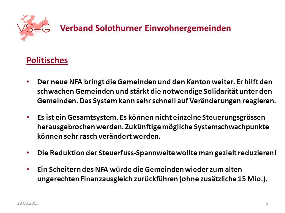 Verband Solothurner Einwohnergemeinden Politisches Der neue NFA bringt die Gemeinden und den Kanton weiter.