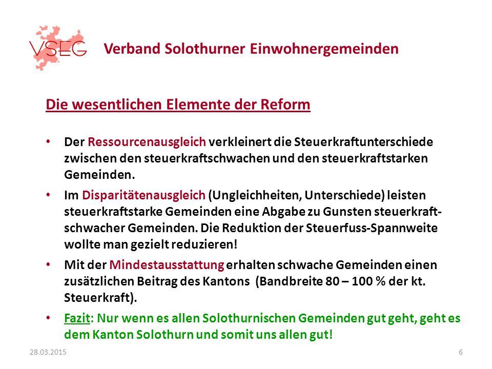 Verband Solothurner Einwohnergemeinden Die wesentlichen Elemente der Reform Der Ressourcenausgleich verkleinert die Steuerkraftunterschiede zwischen den steuerkraftschwachen und den steuerkraftstarken Gemeinden.