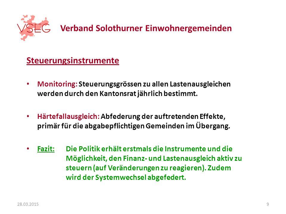 Verband Solothurner Einwohnergemeinden Steuerungsinstrumente Monitoring: Steuerungsgrössen zu allen Lastenausgleichen werden durch den Kantonsrat jährlich bestimmt.