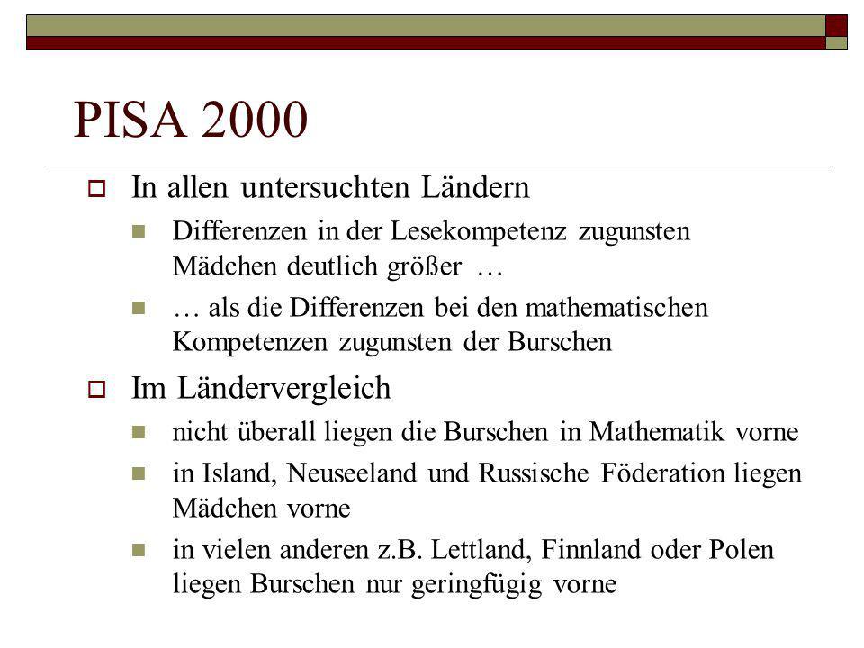 PISA 2000  In allen untersuchten Ländern Differenzen in der Lesekompetenz zugunsten Mädchen deutlich größer … … als die Differenzen bei den mathemati