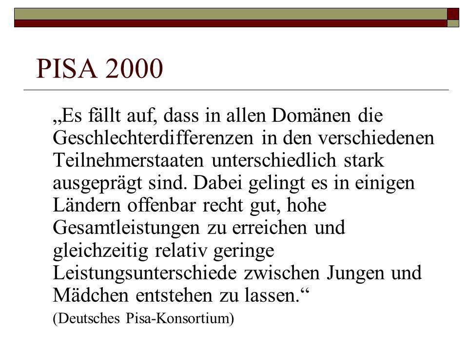 """PISA 2000 """"Es fällt auf, dass in allen Domänen die Geschlechterdifferenzen in den verschiedenen Teilnehmerstaaten unterschiedlich stark ausgeprägt sin"""