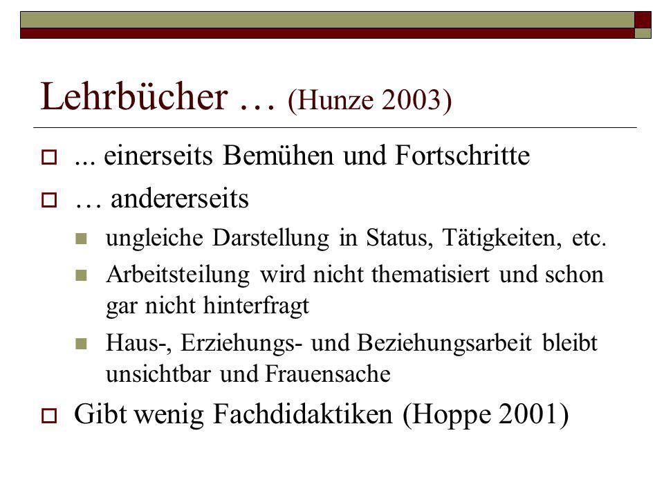 Lehrbücher … (Hunze 2003) ... einerseits Bemühen und Fortschritte  … andererseits ungleiche Darstellung in Status, Tätigkeiten, etc. Arbeitsteilung