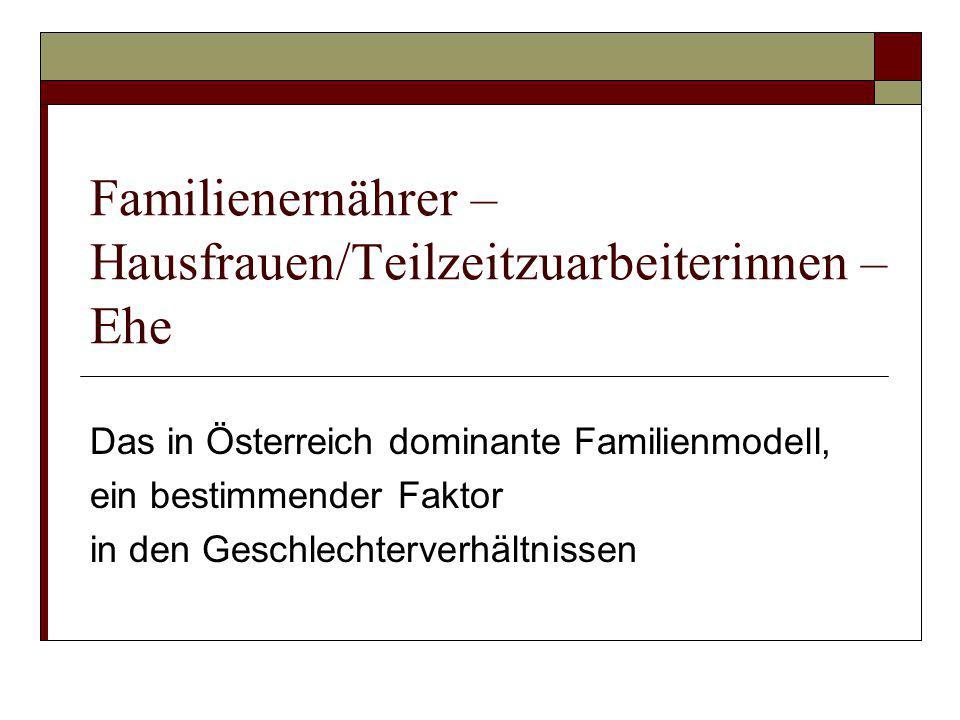 Familienernährer – Hausfrauen/Teilzeitzuarbeiterinnen – Ehe Das in Österreich dominante Familienmodell, ein bestimmender Faktor in den Geschlechterver