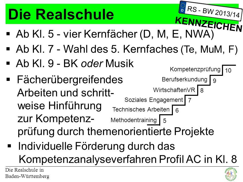 Die Realschule Die Realschule in Baden-Württemberg RS - BW 2013/14 KENNZEICHEN  Ab Kl.