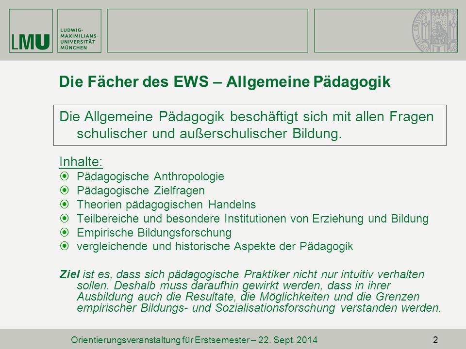 Hinweise zum Staatsexamen  Das EWS-Staatsexamen kann vor dem Fächerexamen abgelegt werden.