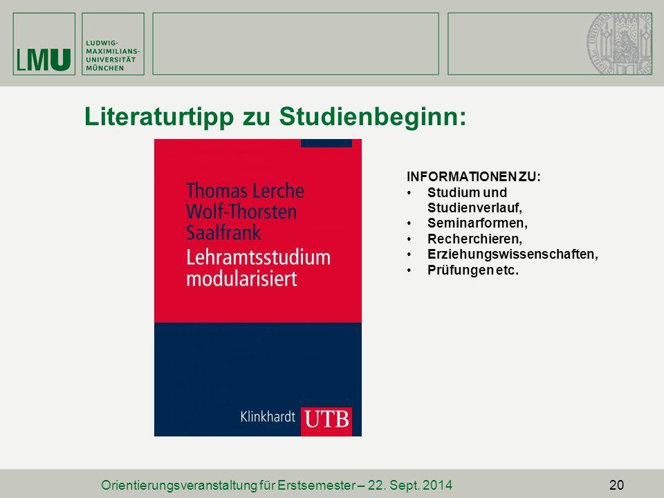 Literaturtipp zu Studienbeginn: Orientierungsveranstaltung für Erstsemester – 22.