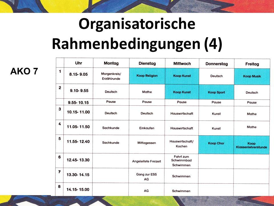 Organisatorische Rahmenbedingungen (4) AKO 7