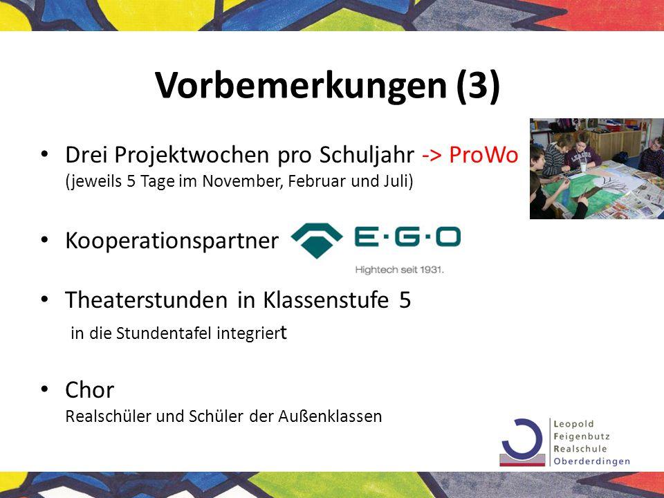 Vorbemerkungen (3) Drei Projektwochen pro Schuljahr -> ProWo (jeweils 5 Tage im November, Februar und Juli) Kooperationspartner Theaterstunden in Klas