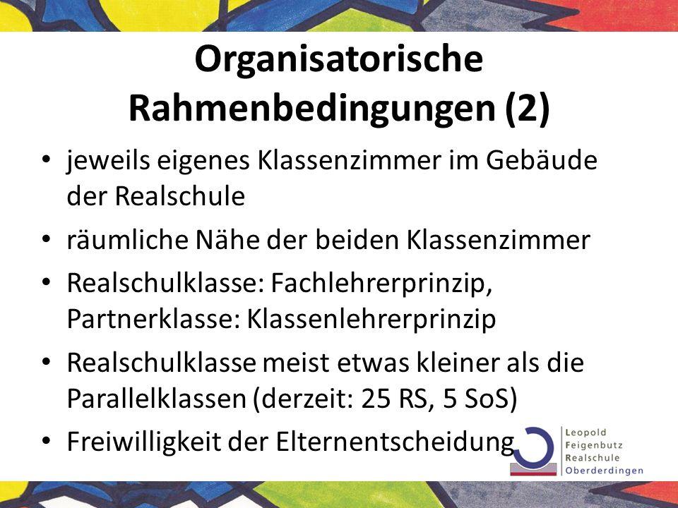Organisatorische Rahmenbedingungen (3) Kooperationsunterricht grundsätzlich als Team (RealschullehrerIn + SonderschullehrerIn) (+ evtl.