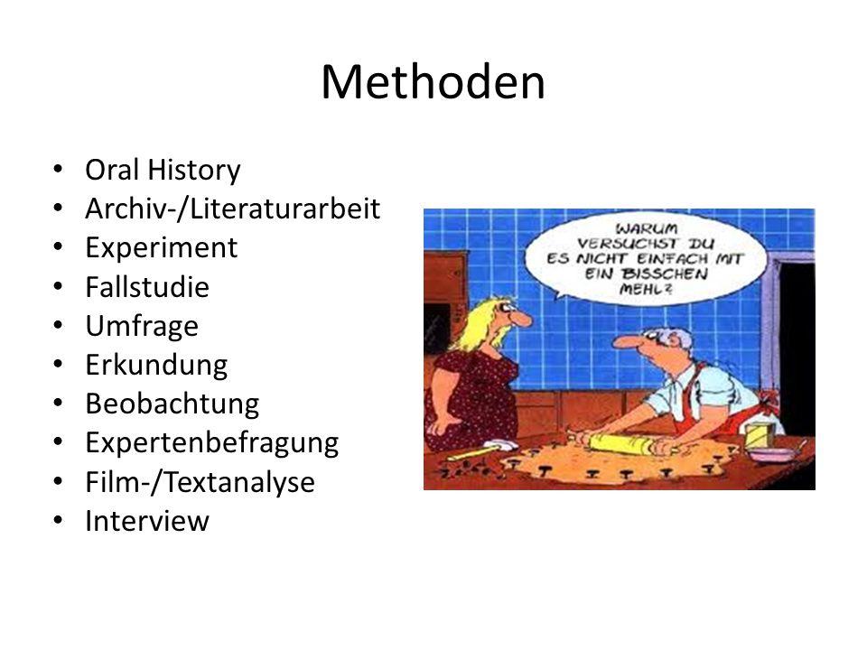 Methoden Oral History Archiv-/Literaturarbeit Experiment Fallstudie Umfrage Erkundung Beobachtung Expertenbefragung Film-/Textanalyse Interview