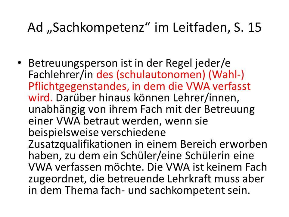 "Ad ""Sachkompetenz im Leitfaden, S."