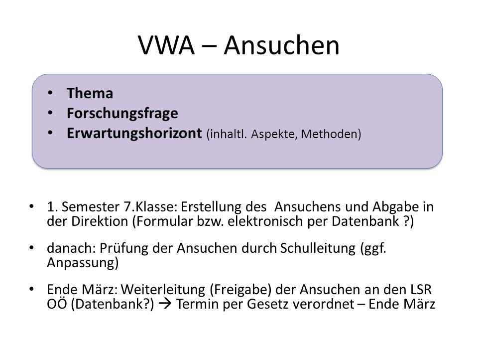 VWA – Ansuchen Thema Forschungsfrage Erwartungshorizont (inhaltl.