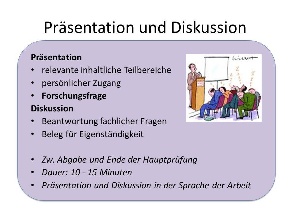 Präsentation und Diskussion Präsentation relevante inhaltliche Teilbereiche persönlicher Zugang Forschungsfrage Diskussion Beantwortung fachlicher Fragen Beleg für Eigenständigkeit Zw.