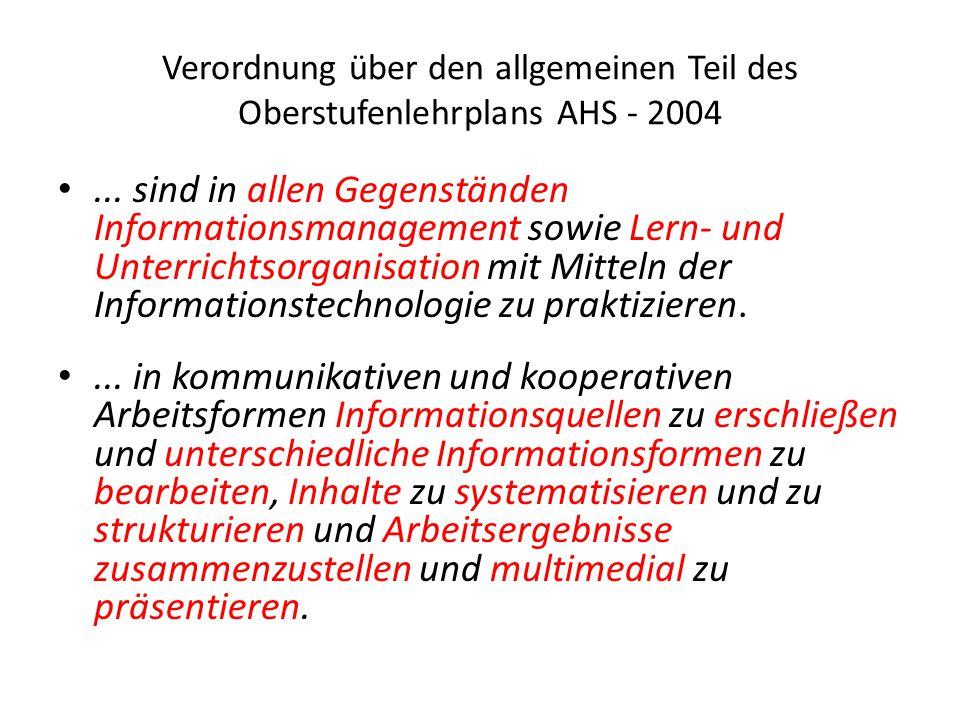 Verordnung über den allgemeinen Teil des Oberstufenlehrplans AHS - 2004...