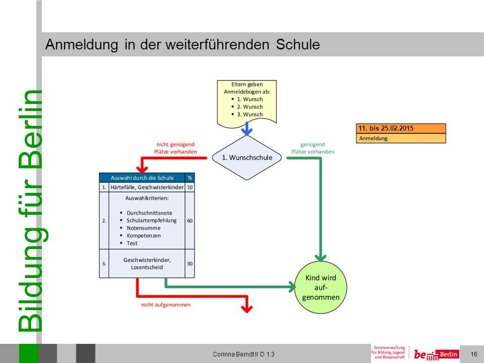 Bildung für Berlin Corinna Berndt II D 1.316 Anmeldung in der weiterführenden Schule 11. bis 25.02.2015