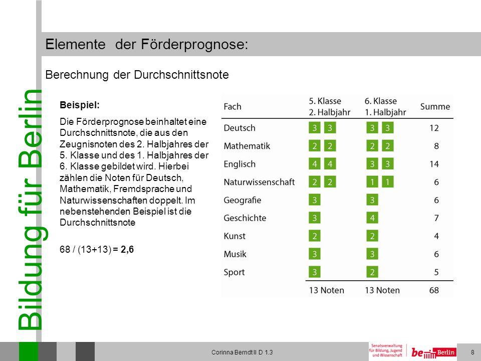 Bildung für Berlin Corinna Berndt II D 1.38 Elemente der Förderprognose: Berechnung der Durchschnittsnote Beispiel: Die Förderprognose beinhaltet eine