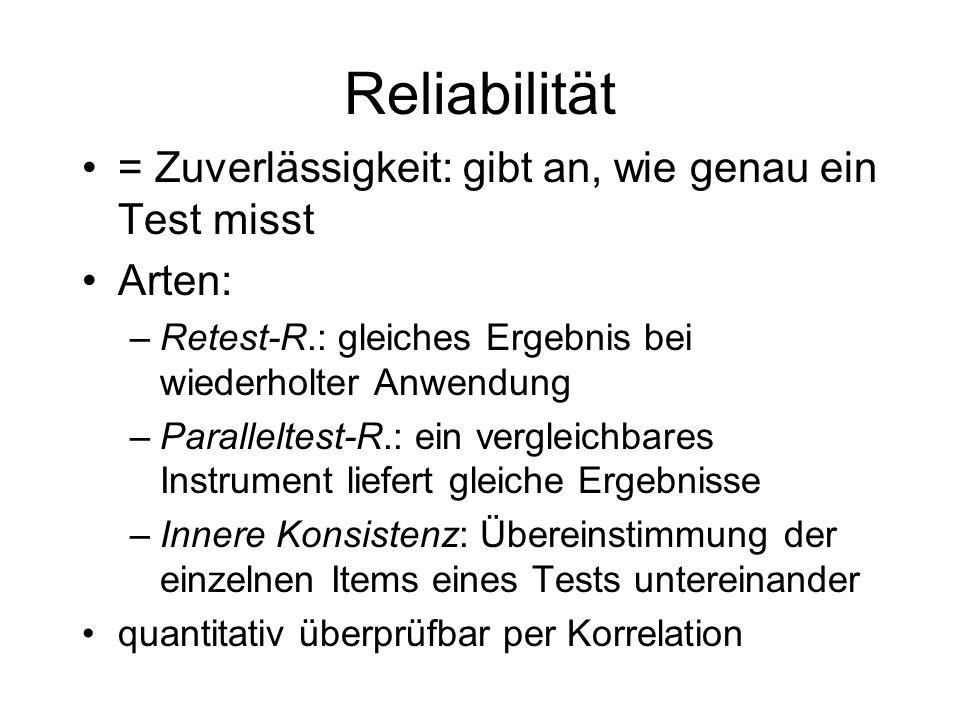 Reliabilität = Zuverlässigkeit: gibt an, wie genau ein Test misst Arten: –Retest-R.: gleiches Ergebnis bei wiederholter Anwendung –Paralleltest-R.: ei