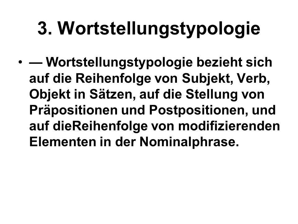 GRUNDKURS 2011/2012 — Es gibt sechs mögliche Reihenfolgen von Subjekt, Objekt und Verb.